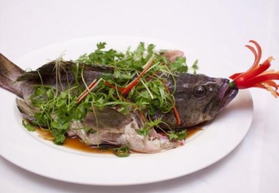 Đặc sản cá song hấp xì dầu ngon ngọt Cát Bà. Vị ngọt của cá vẫn được giữ nguyên.