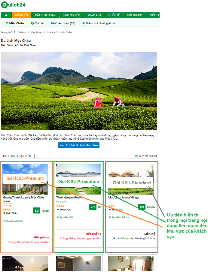 Hiển thị trong các trang nội dung liên quan đến khu vực của khách sạn.
