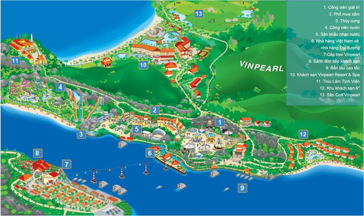 Bản đồ Vinpearl Land Nha Trang