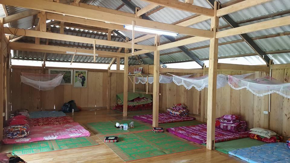 Phòng ngủ tập thể trong 1 nhà sàn ở Bản Thái - Mù Căng Chải.