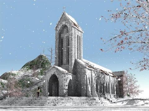 Nhà thờ Đá Sapa phủ bởi lớp tuyết trắng