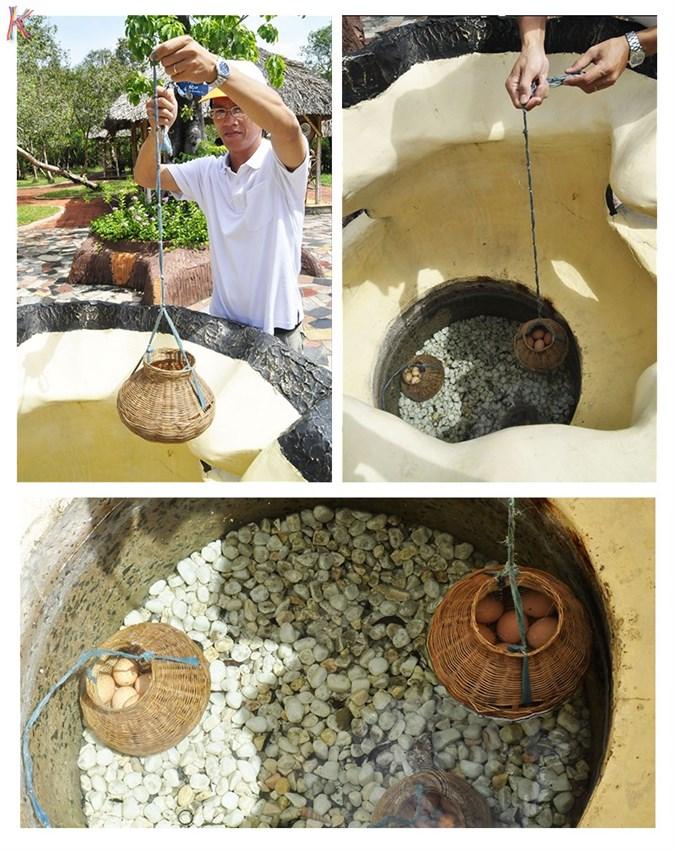 Luộc trứng tại suối nước nóng