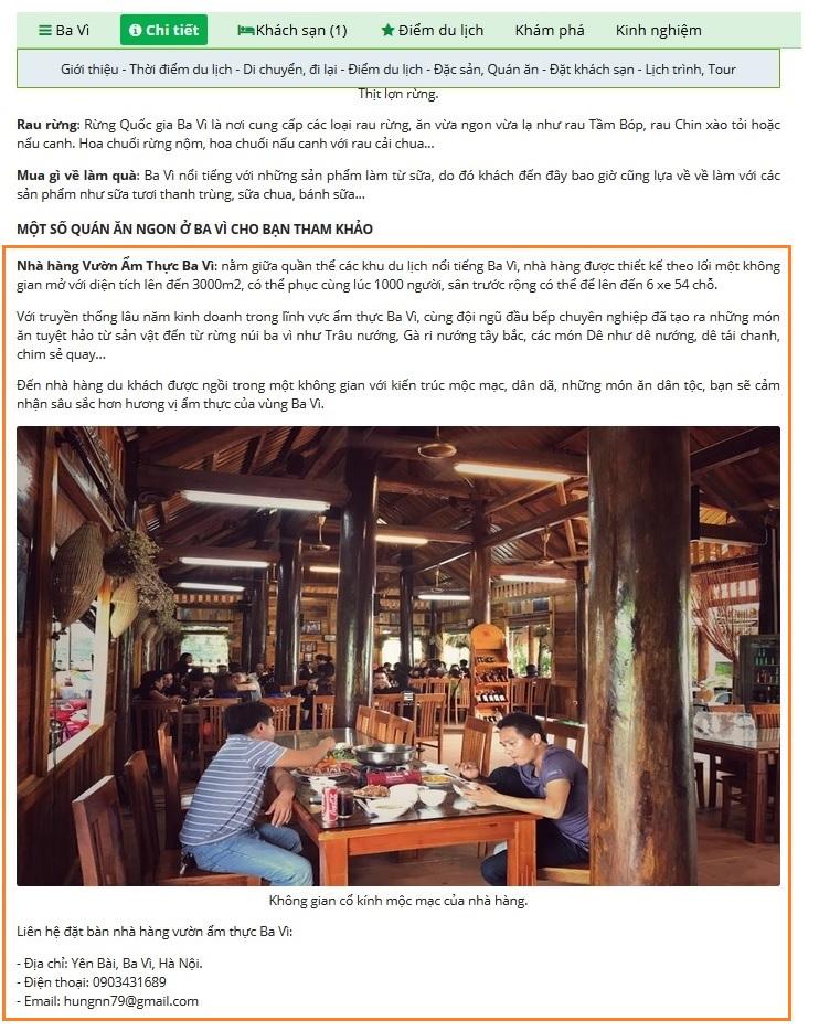 Vị trí giới thiệu nhà hàng, quán ăn.