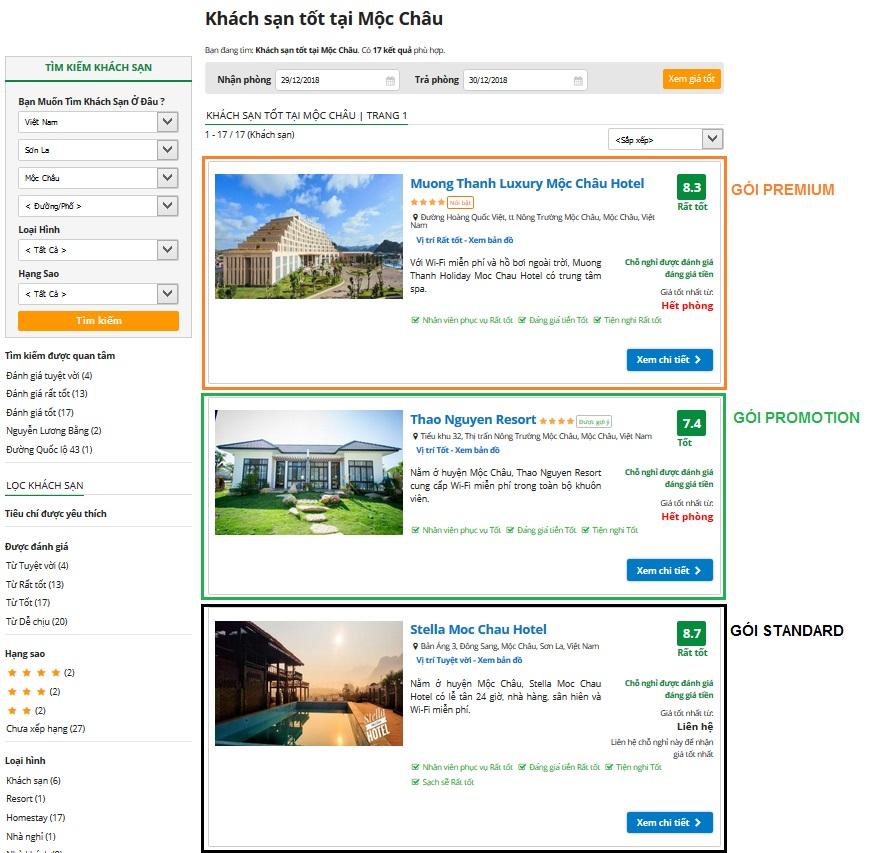 Thứ tự các gói quảng cáo trong trang danh sách hiển thị kết quả tìm kiếm khách sạn