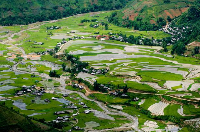 Những ngôi nhà sàn xinh xắn của người Thái nằm rải rác giữa thung lũng xanh mướt