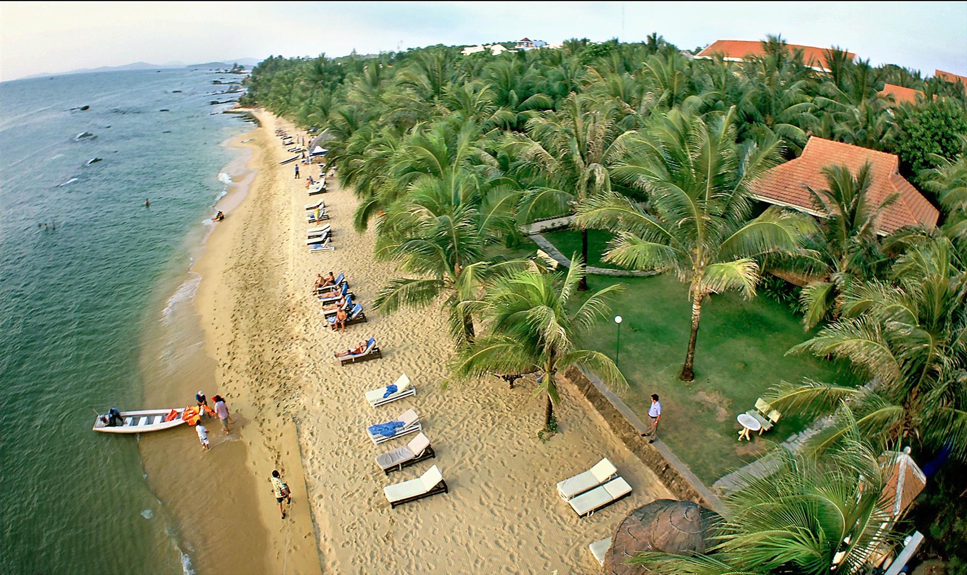 Bãi Sau cũng  nổi tiếng với những hàng dừa xanh ngắt