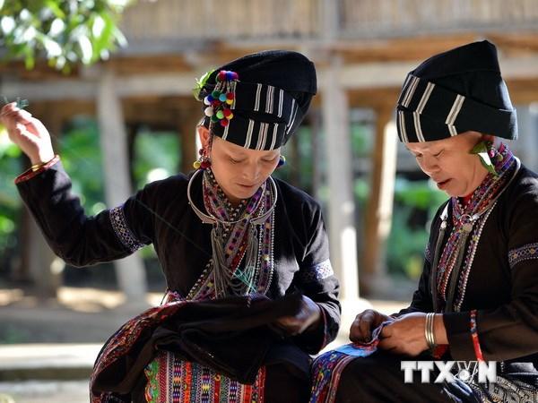 Trang phục truyền thống của người Lự với đường nét hoa văn độc đáo được làm bởi những bàn tay khéo léo của người phụ nữ. (Ảnh: Thanh Hà/TTXVN)