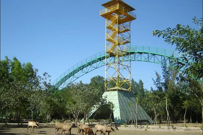 Tháp Tang Bồng nằm ở giữa khu du lịch Vàm Sát.