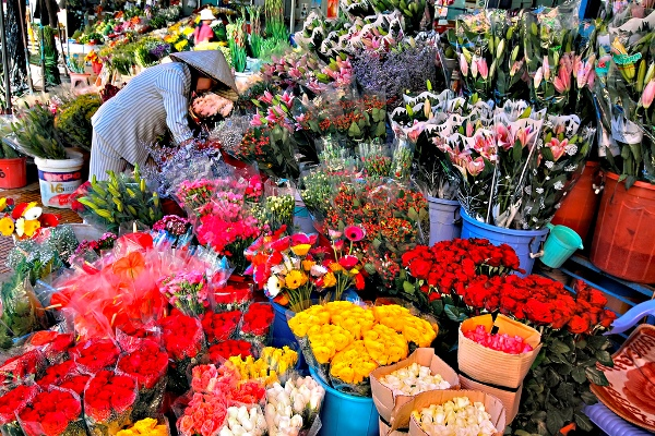 Cửa hàng hoa với rực rỡ sắc màu