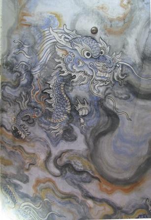 Hoạ tiết rồng trong tác phẩm Cửu long ẩn vân ở trần điện