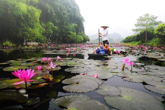 Ngồi thuyền từ bến Đục, theo dòng Suối Yến để đến các điểm dâng hương.