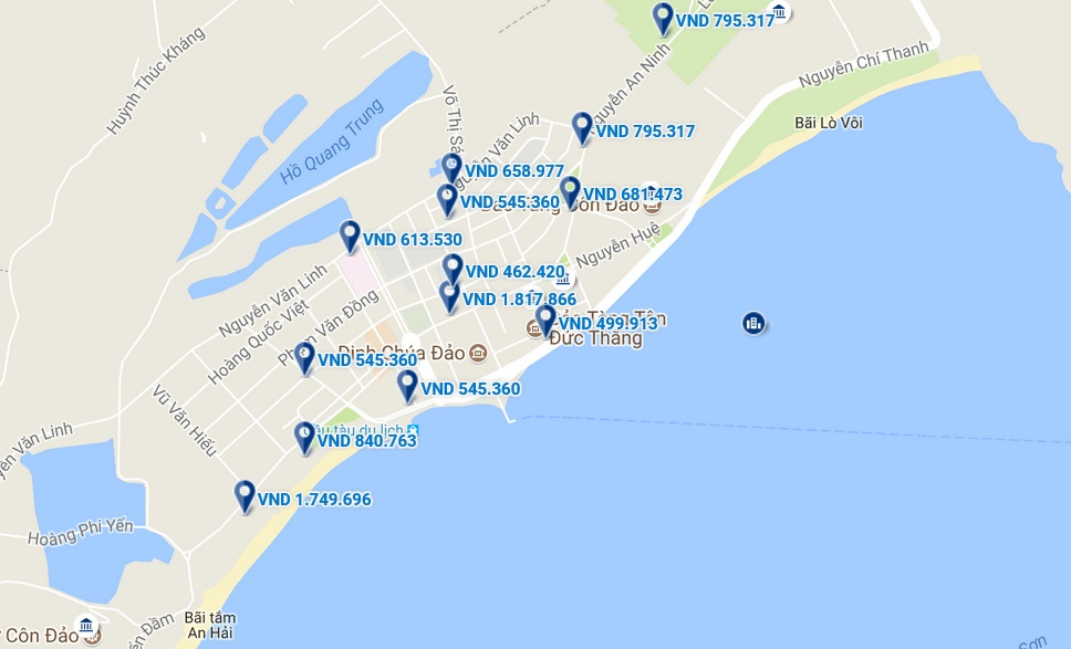 Bản đồ vị trí khách sạn ở Côn Đảo.