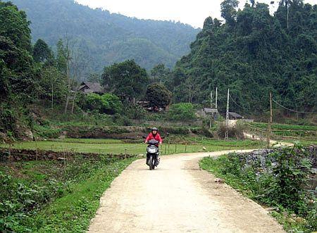 Đường bê tông vào thôn Cổ Yểng ngày nay.