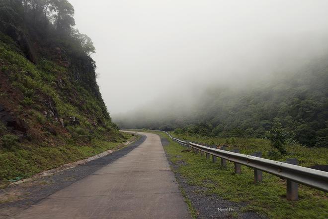 Sương mù giăng phủ che khuất một phần tầm mắt trên con đường quanh co.