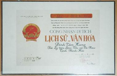 ặt trận Tân Hưng được Nhà nước công nhận Di tích lịch sử văn hóa cấp quốc gia, ngày 25/9/1992./.