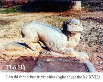 Lân đá thánh bậc trước chùa (nghệ thuật thế kỷ XVII)