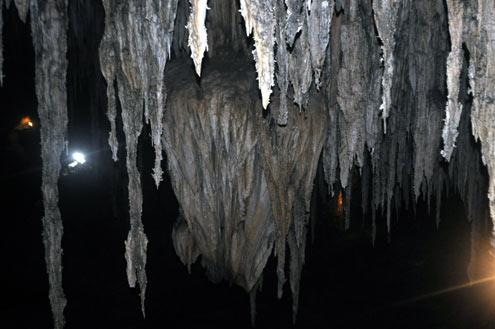 Dải nhũ đá hàng triệu năm tuổi rủ xuống từ trần hang…