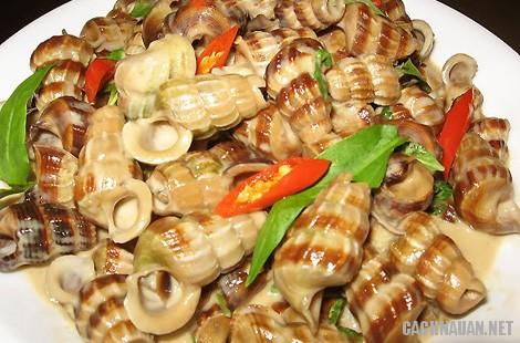Món ngon ở Hậu Giang: Ốc len xào dừa.