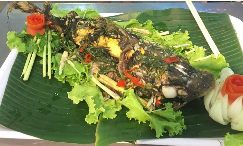 Cá chiên sông đà hấp, thịt vàng, chắc, ngọt.