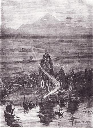 Bức tranh cổ miêu tả vị trí của Kinh đô  Simhapura
