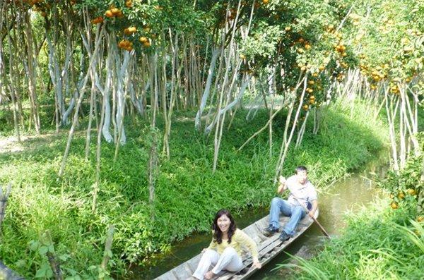 Du khách thử chèo xuồng ba lá trong vườn quýt hồng