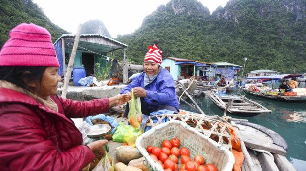 """Những """"quầy hàng"""" bán rau củ quả lênh đênh giữa biển phục vụ thực phẩm cho người dân"""