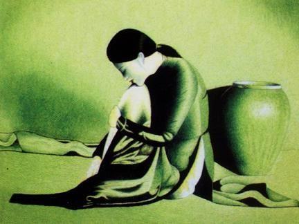 Một bức tranh thêu tay của nghệ nhân Quất Động.