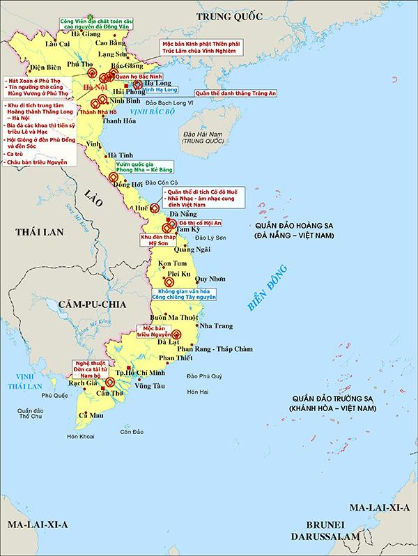 Bản đồ đánh dấu vị trí các địa danh lưu giữ Mộc bản Triều Nguyễn