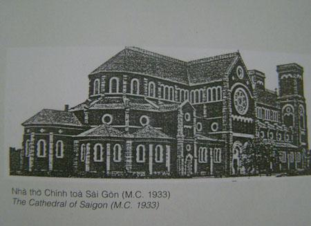 Tranh mô phỏng nhà thờ Sài Gòn nguyên thủy