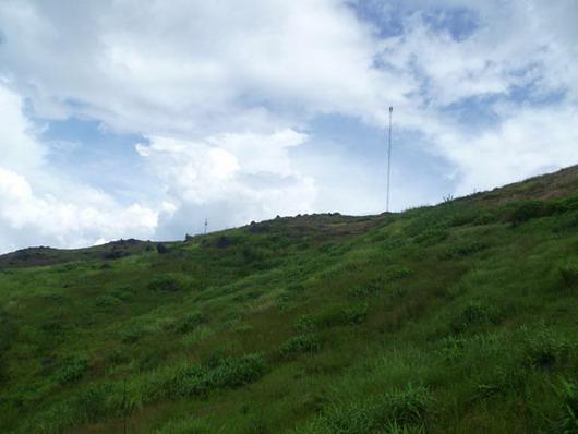 Giữa trưa, sương tan, đỉnh núi phủ xanh cây cỏ