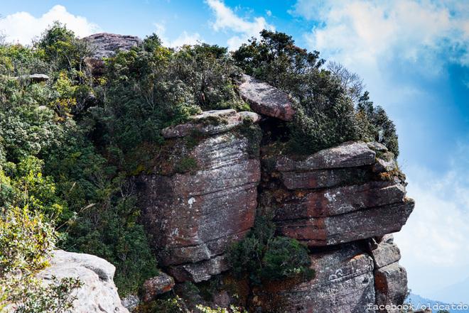 Mỗi một góc của đỉnh núi là những tảng đá xếp chồng với hình thù độc đáo.  Đỉnh núi Pha Luông với độ dốc đứng cao, từ trên đỉnh nhìn thẳng xuống mặt đất phía dưới mà không bị che khuất bởi bất cứ cây cối gì.
