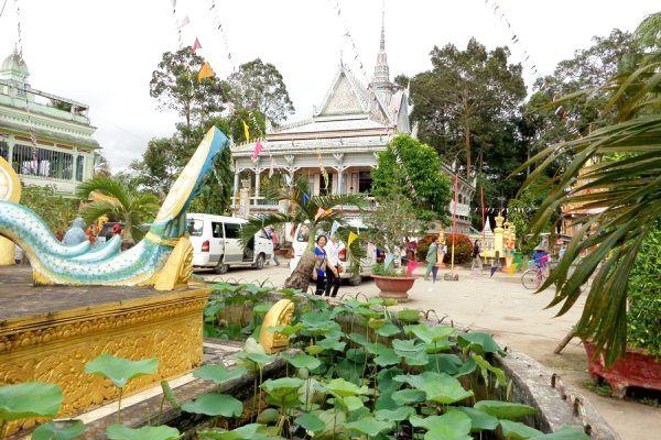 Lịch trình tham khảo, ngày 1:Chợ nổi Ngã Năm, vườn cò Tân Long, các ngôi chùa và bảo tàng.