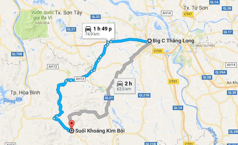 Đường đi đến khu du lịch, khởi hành từ BigC Hà Nội.