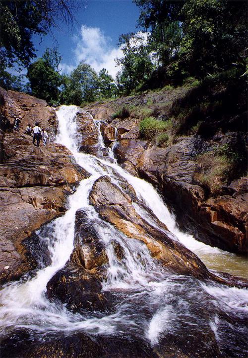 Dòng suối chảy  xuống từ ghềnh cao của thác Đatanla