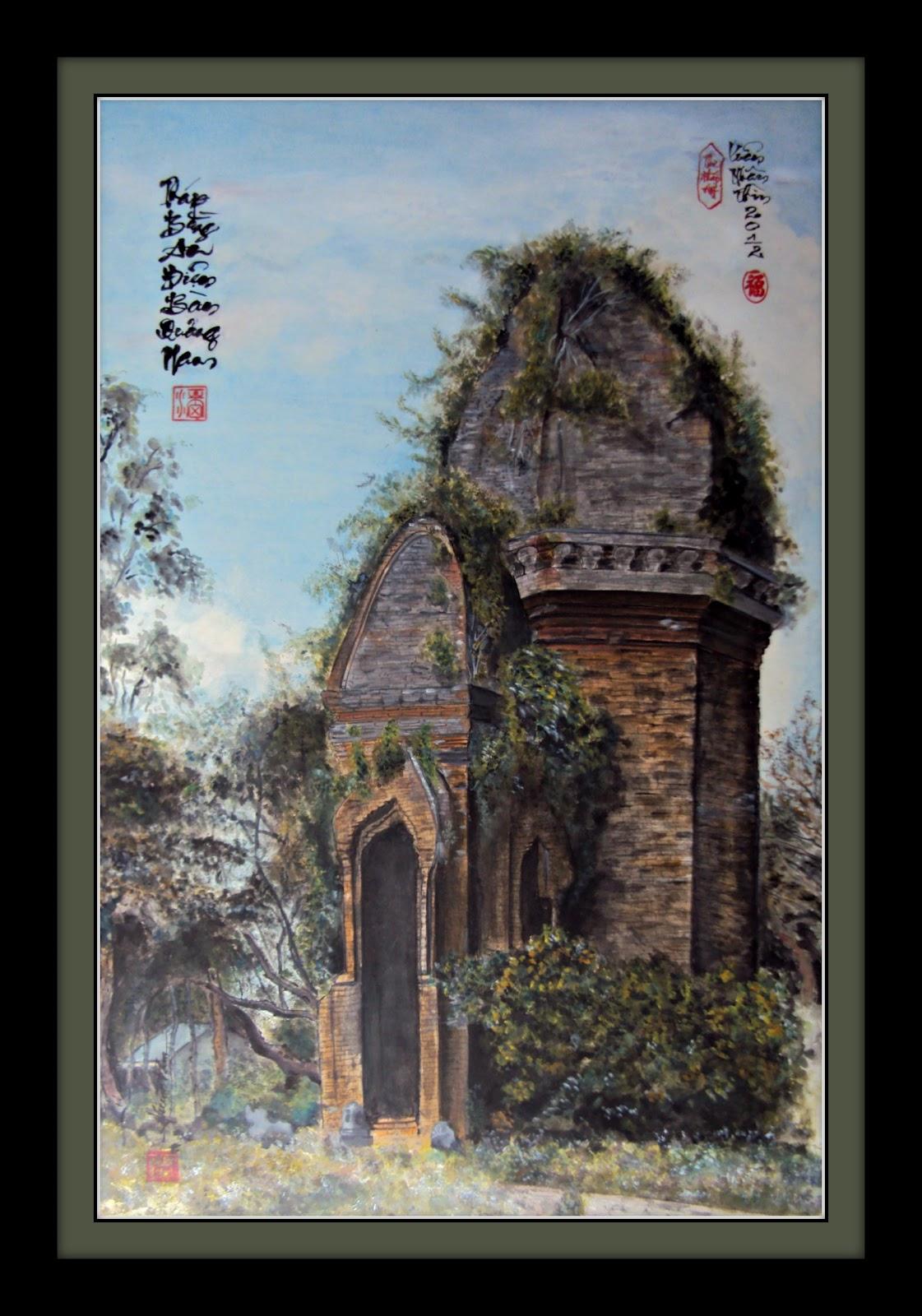 Nghệ thuật thư pháp Phước Tám có ảnh Tháp Bằng An