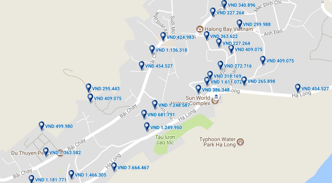 Bản đồ khách sạn ở Hạ Long.