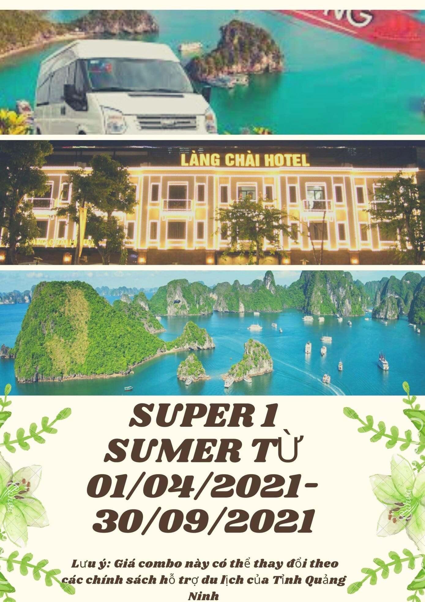Combo SupperSummer1 (2N1Đ): Nghỉ 2 Ngày 1 Đêm tại khách sạn + Tour tham quan Vịnh Hạ Long + xe Limousine khứ hồi 2 chiều. Giá 1.199k / 1 Người.