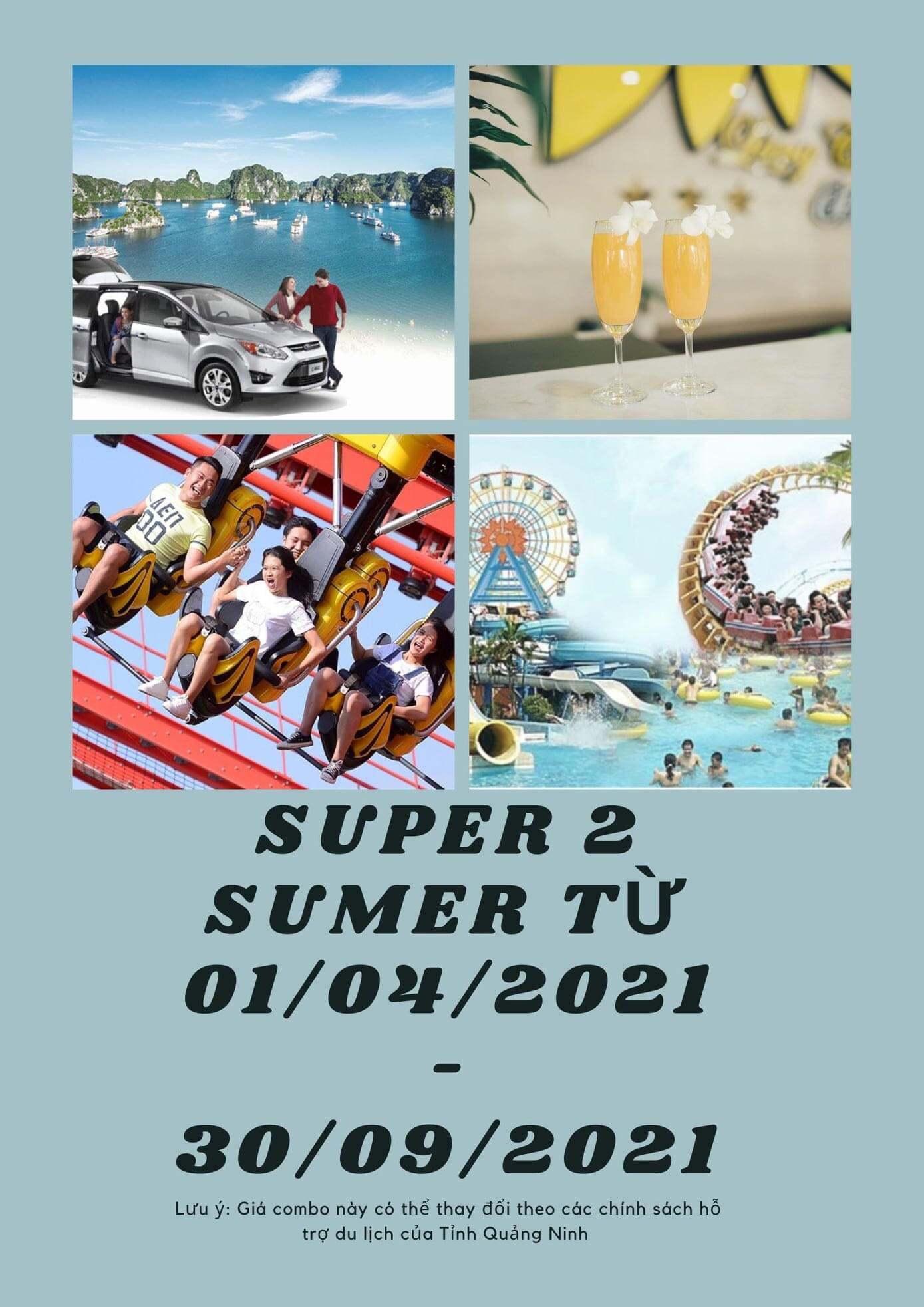 Combo SupperSummer2 (2N1Đ): Nghỉ 2 ngày 1 đêm tại KS + Vé vui chơi công viên rồng hoặc công viên nước Sunworld + Xe Limousine khứ hồi 2 chiều. Giá 899k / Khách