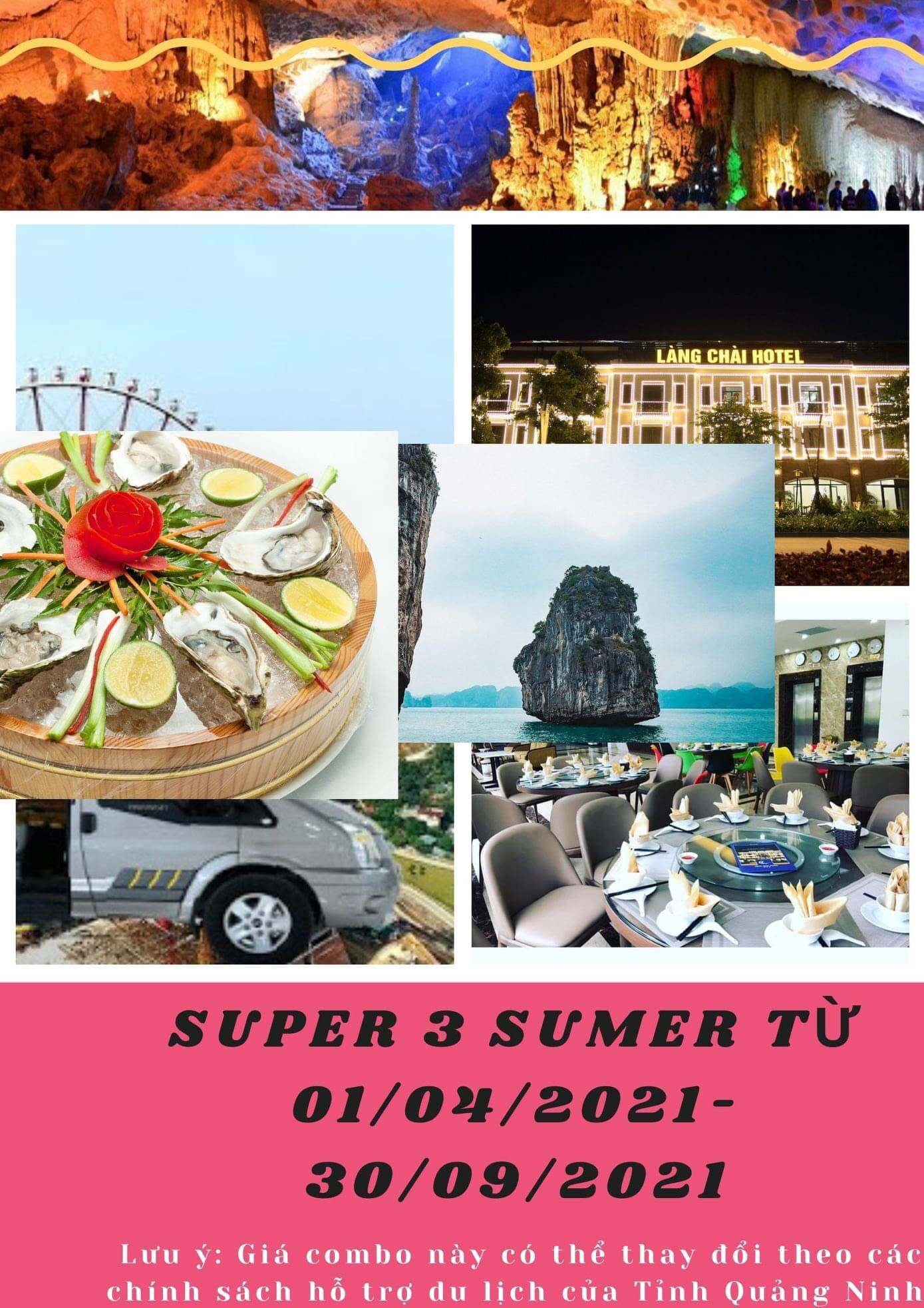 Combo SupperSummer3 (3N2Đ): Nghỉ 3 Ngày 2 Đêm tại khách sạn + 1 Bữa ăn chính tại khách sạn (trưa hoặc tối) + xe Limousine khứ hồi 2 chiều, giá 1.099k/ khách.