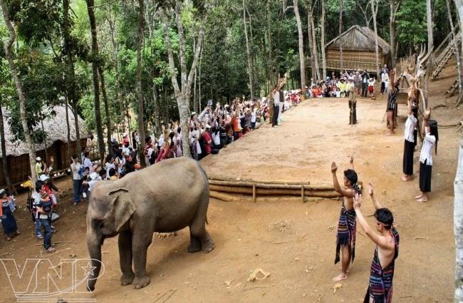 Du khách tham quan làng dân tộc Mạ.