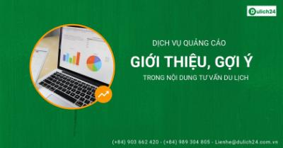 Quảng cáo giới thiệu, gợi ý trong nội dung tư vấn du lịch