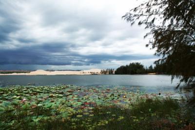 Hồ nước hùng vĩ giữa đồi cát ở Bình Thuận